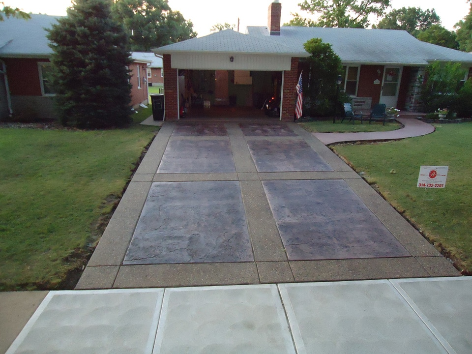 Stamped and Stained Concrete Driveway St Louis Hills BuildPro Concrete